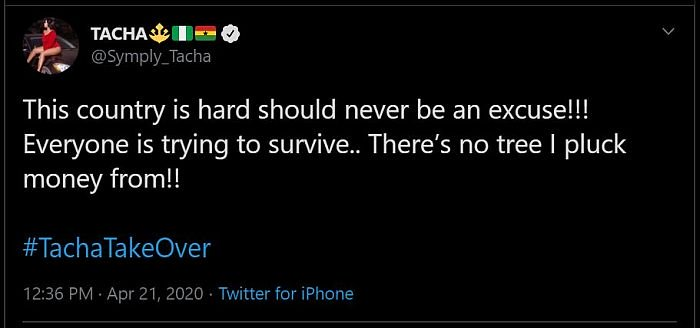 """Nigeria Is Hard Should Never Be An Excuse"" – Tacha Tells Fans 2"