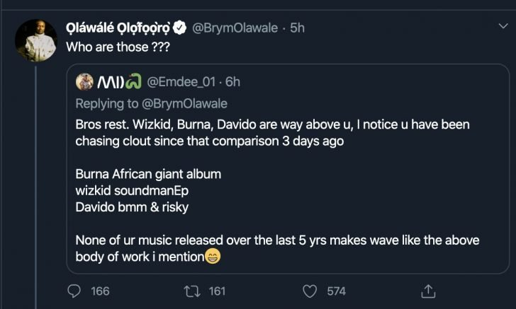 Who Are Those? – Singer Brymo Denies Knowing Wizkid, Burnaboy And Davido (See Tweet) 2