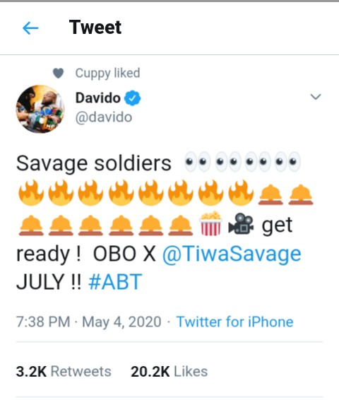 It's Official!!! Davido Features Tiwa Savage On A Track For The First Time 2