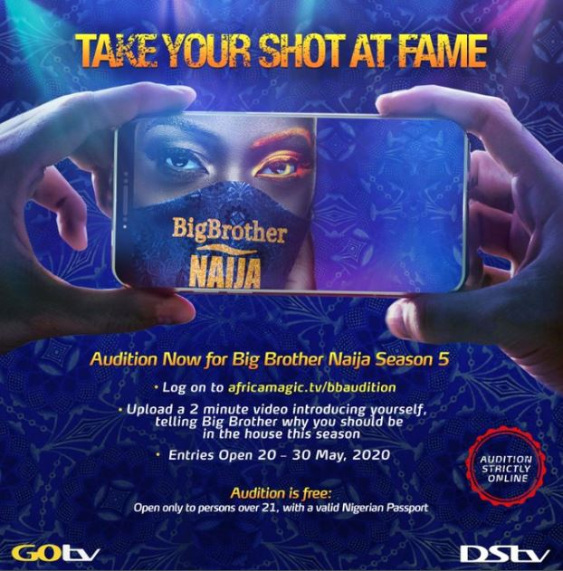 #BBNaija Season 5 Is Back! See How To Audition For Big Brother Naija 2020 Edition 1