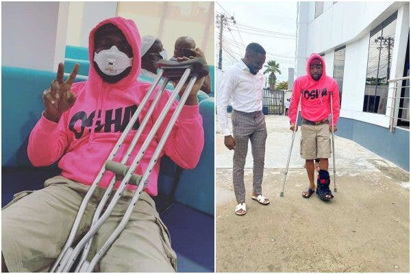 Just in! Davido On Crutches After Sustaining Injury (Photos) 1