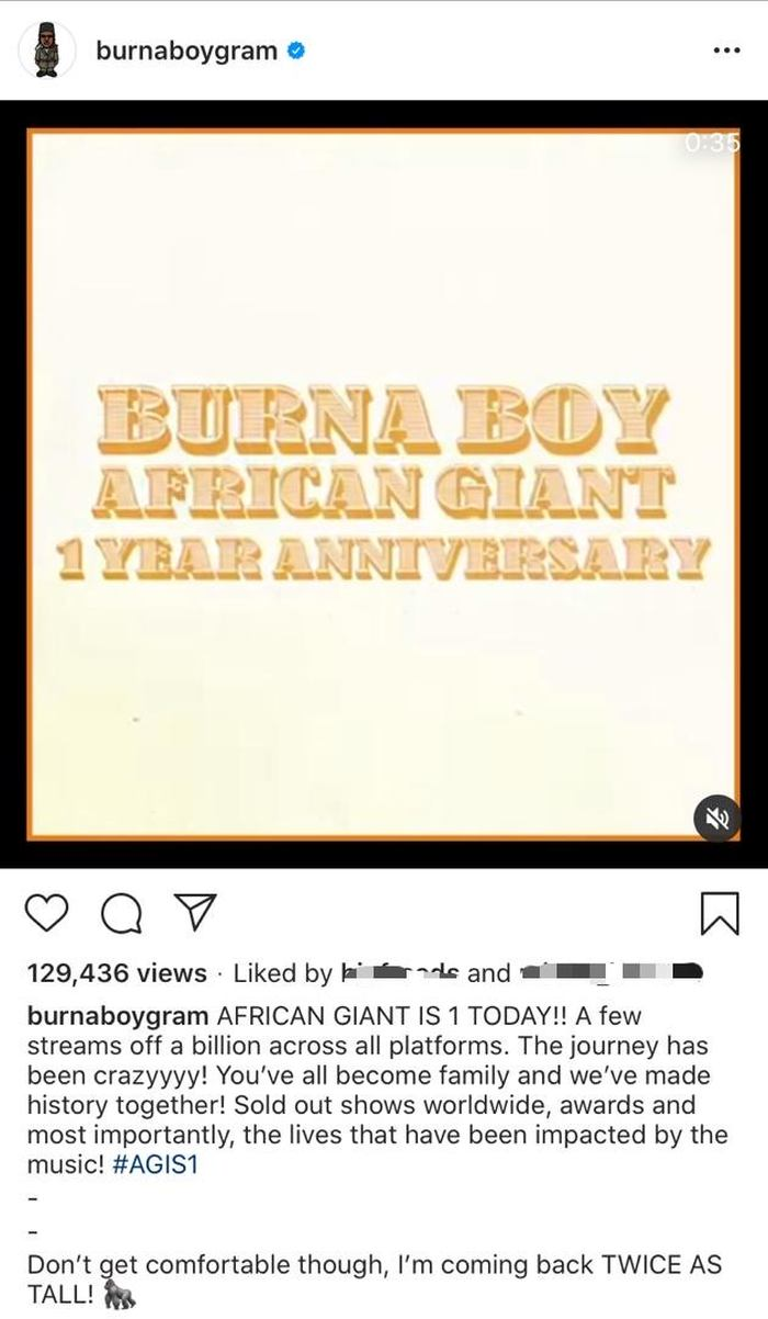 """Burna Boy Celebrates 1 Year Anniversary Of """"African Giant"""" With Over 800 Million Streams 2"""