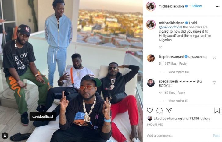 "'I Am Nigerian""- Davido's response after Michael Blackson asked how he crossed the borders to the US 2"
