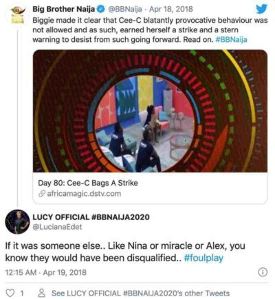 Internet Doesn't Forget; BBNaija Lucy's 2019 Post Shading Mercy & Tacha Pops Up 5