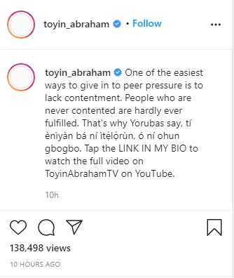 Do You Agree?? 'People Who Are Never Contented Are Hardly Ever Fulfilled' – Toyin Abraham Affirms 2