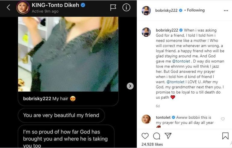 """I Promise To Be Loyal To U Till Death Do Us Path"" – Bobrisky Tells Tonto Dikeh 2"