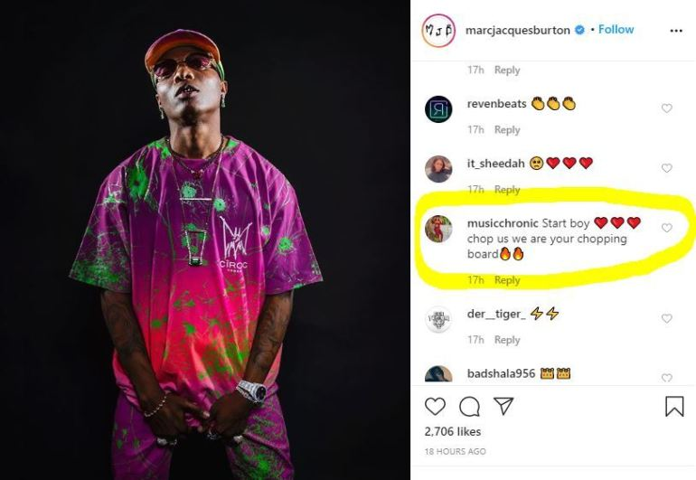 """""""Starboy Chop Us, We are Your Chopping Board"""" – Fans React To Wizkid's Latest Photo 2"""