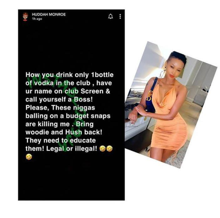 Bring Back Woodberry And Hushpuppi – Huddah Monroe As She Expresses Disappointment In Some Fake Men 2