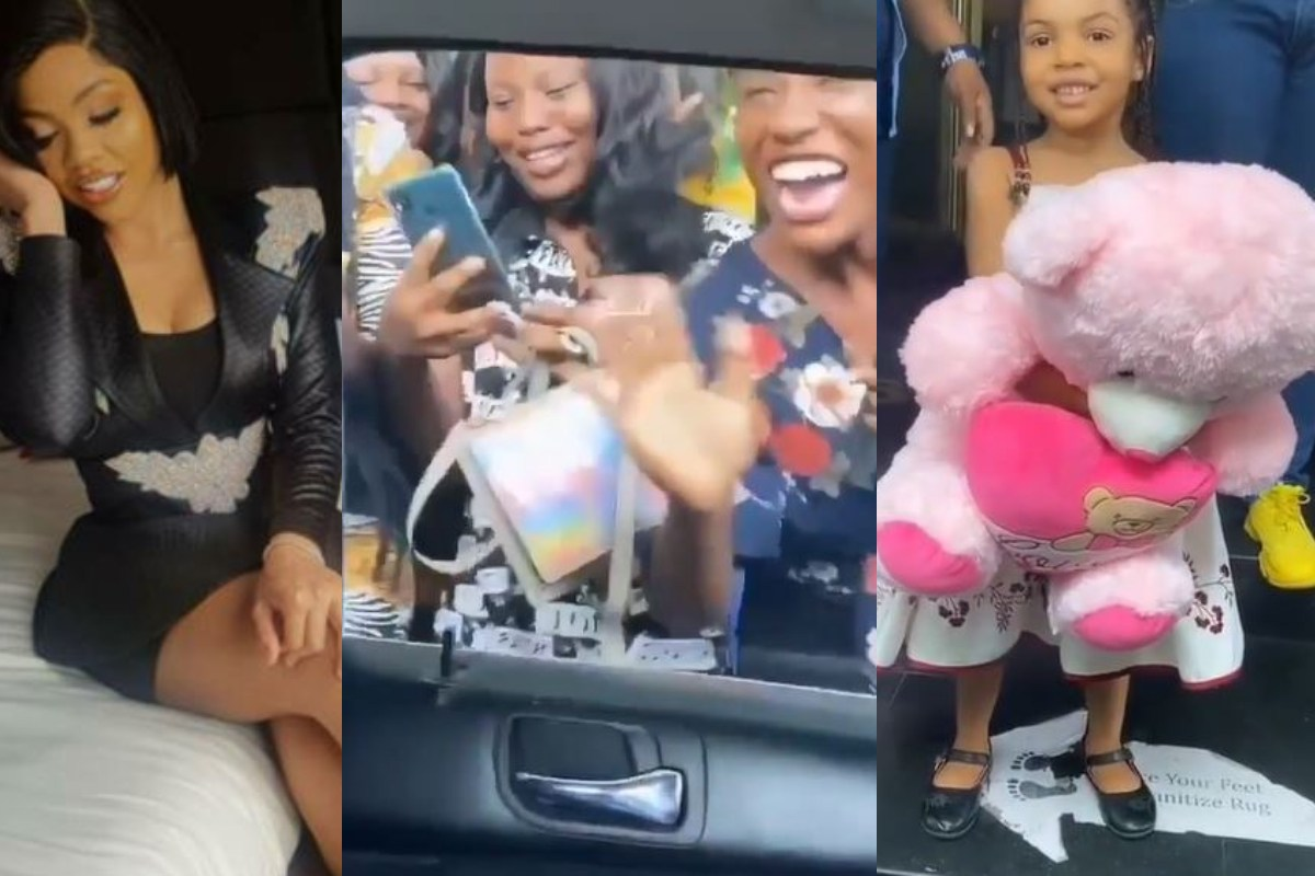 Watch BBNaija Star Nengi Mobbed By Fans And Presented A Teddy Bear By A Little Girl During Her Media Tour (Video) min