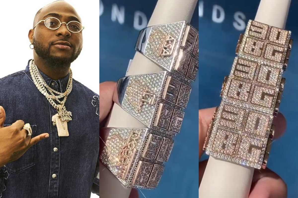 Davido Buys Custom Made Ice Rings For His Manager And Two Other Crew Members (Photos)
