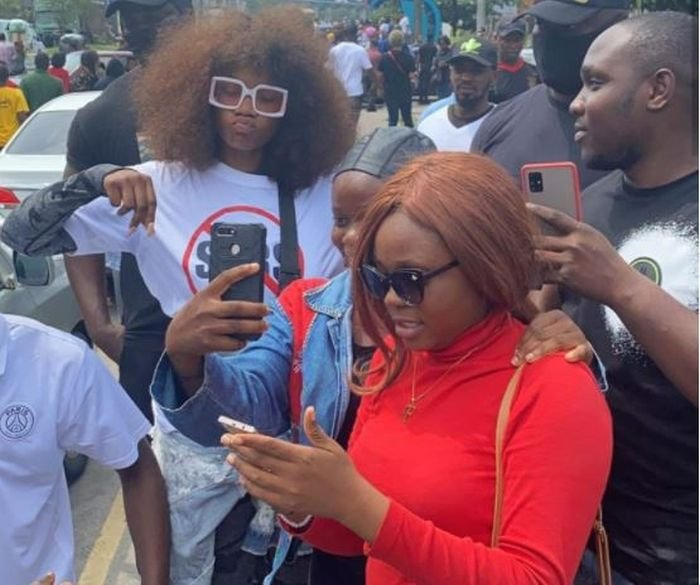 Checkout Moment Port Harcourt Protesters Slammed Tacha For Taking Photos With Fans During Protest (Watch Video)