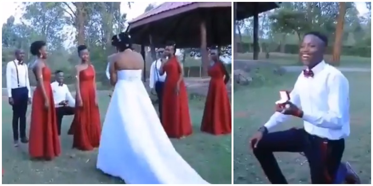 The Moment A Man Proposed To His Girlfriend At Someone Else Wedding Ceremony (VIDEO)