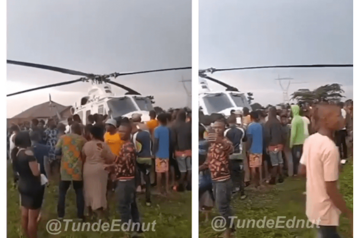 Just In: Angry Youth Seize Helicopter That Landed In Oluku (VIDEO)