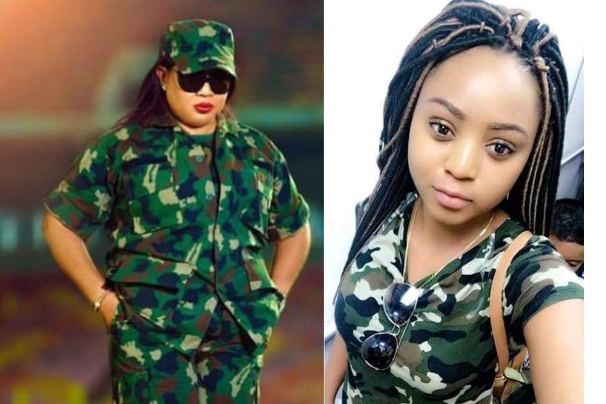 Photos Of Regina Daniels And Her Mother Slaying In Army Uniforms