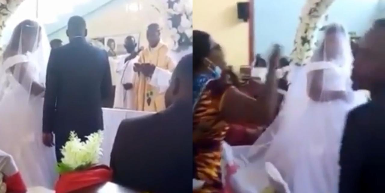 Bride Sheds Tears After A Lady Walked Into The Church And Claimed That She Is Pregnant For The Groom (Video)