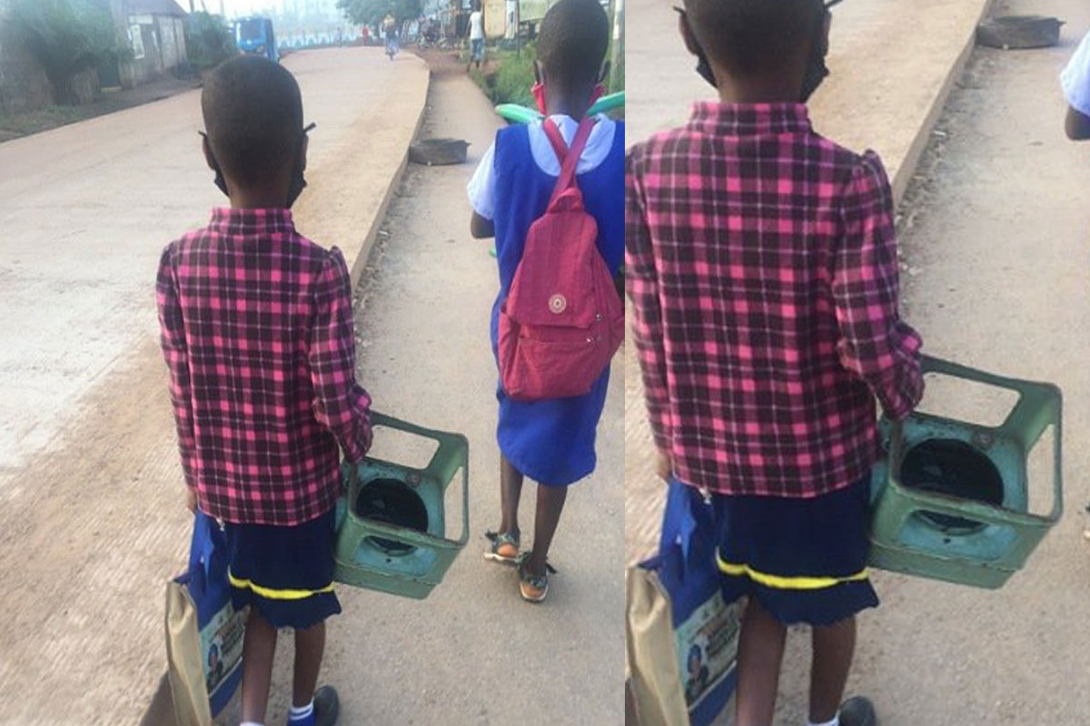 Photo Of A Little Girl Going To School With A Stove As Her A Chair In Class Sparks Outrage Online