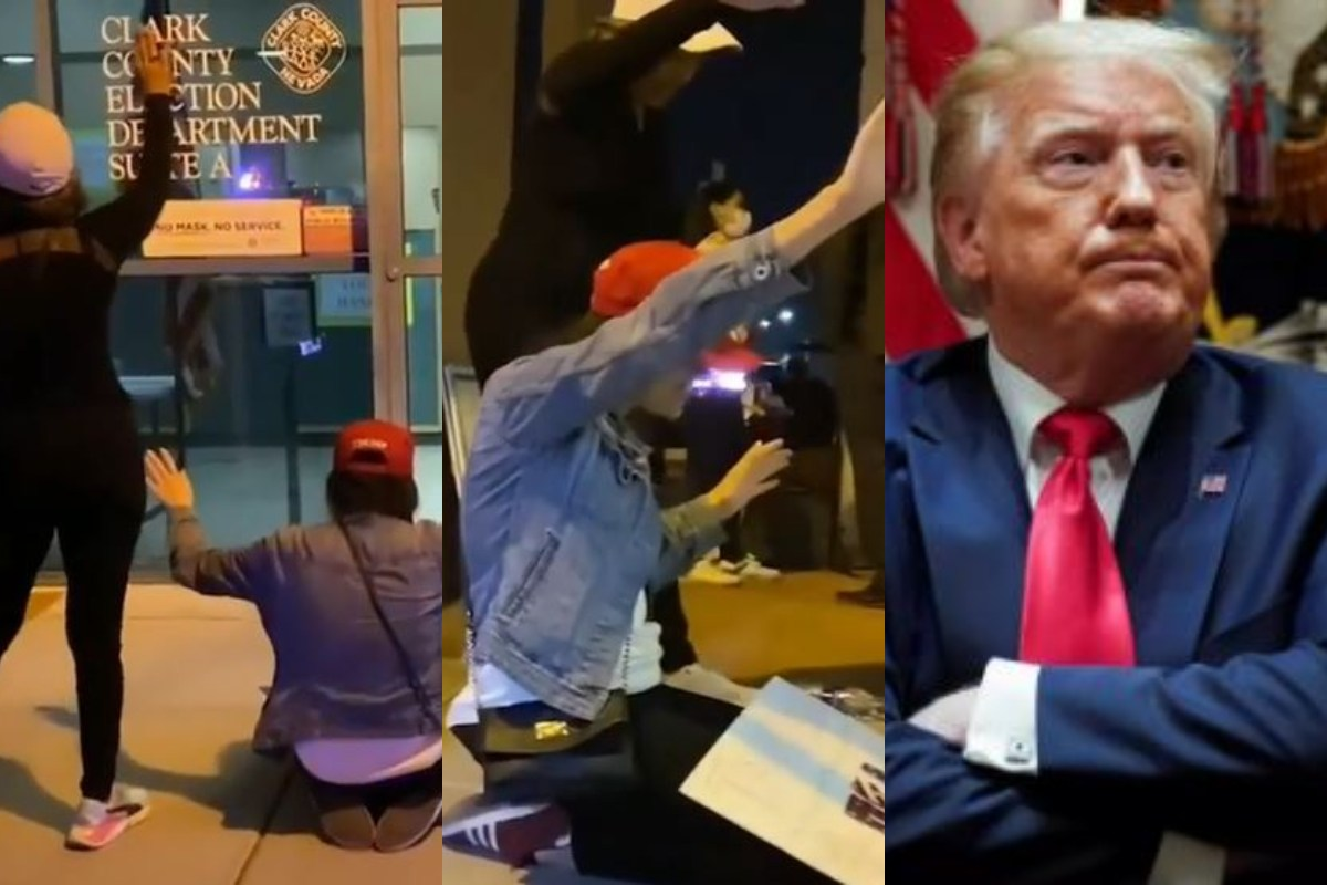 President Trump's Supporters Kneel To Pray Outside An Election Department in Nevada During Votes Count (Video) min