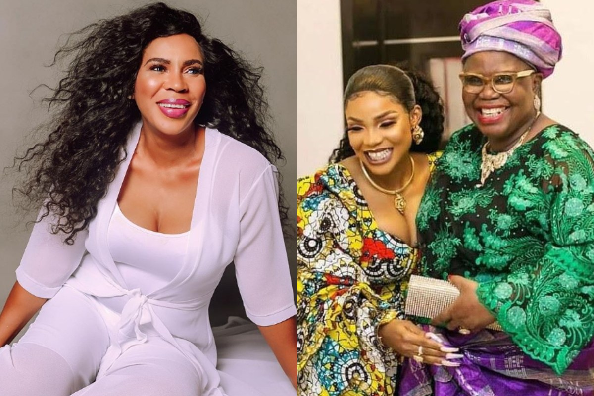 Fathia Balogun Ignores Beef With Iyabo Ojo, Joins Her To Mourn Her Mother (Photo)