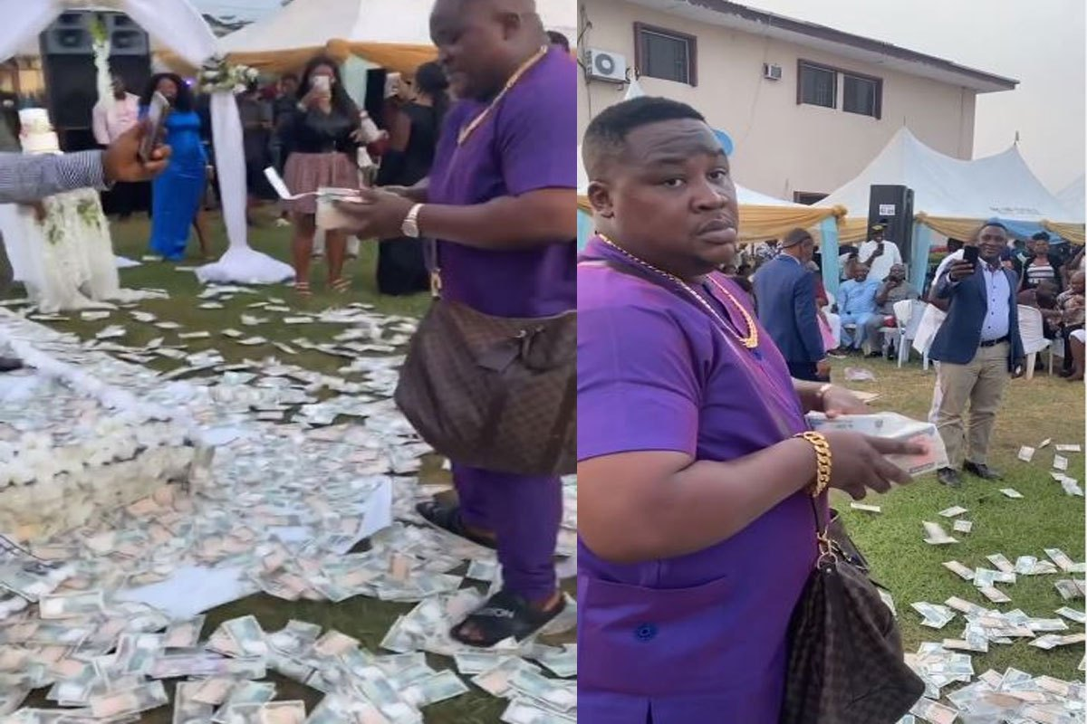 There Are Levels To This! – SEE How Cubana Chief Priest Made Money Rain At A Wedding In Owerri (VIDEO)