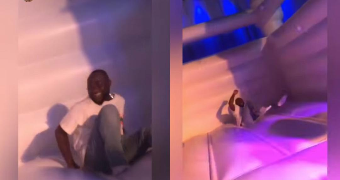 Davido In His Best Mood At His Brother's Birthday Party As He Jumps Off In A Bouncing Castle