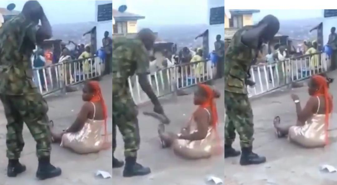 Lady Flogged In Public By A Soldier For Dressing Indecently