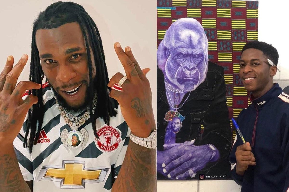 Burna Boy Reacts After Young Artist Drew Him As A Gorilla
