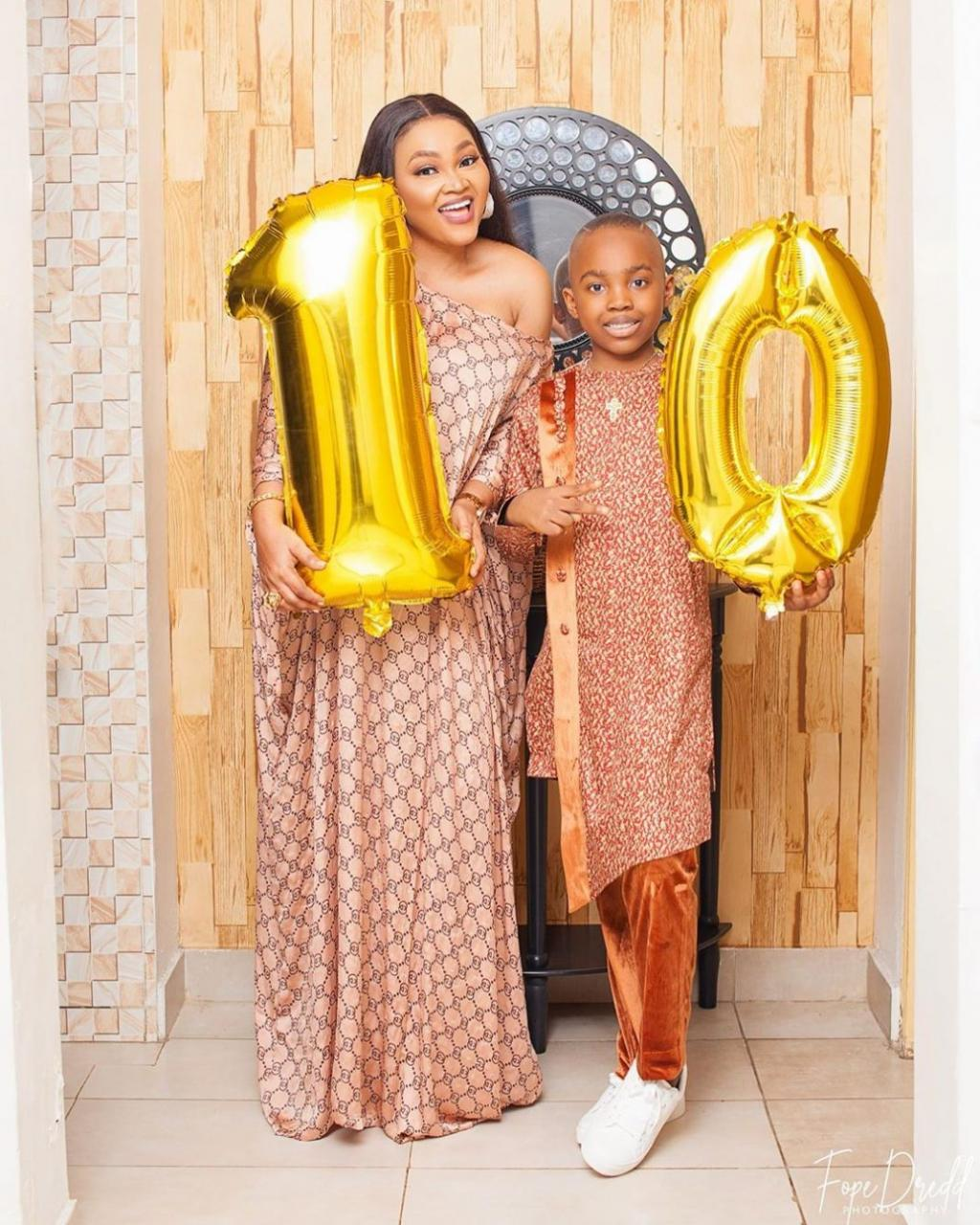 Mercy Aigbe Gushes Over Her Son As She Welcomes Him Back From School