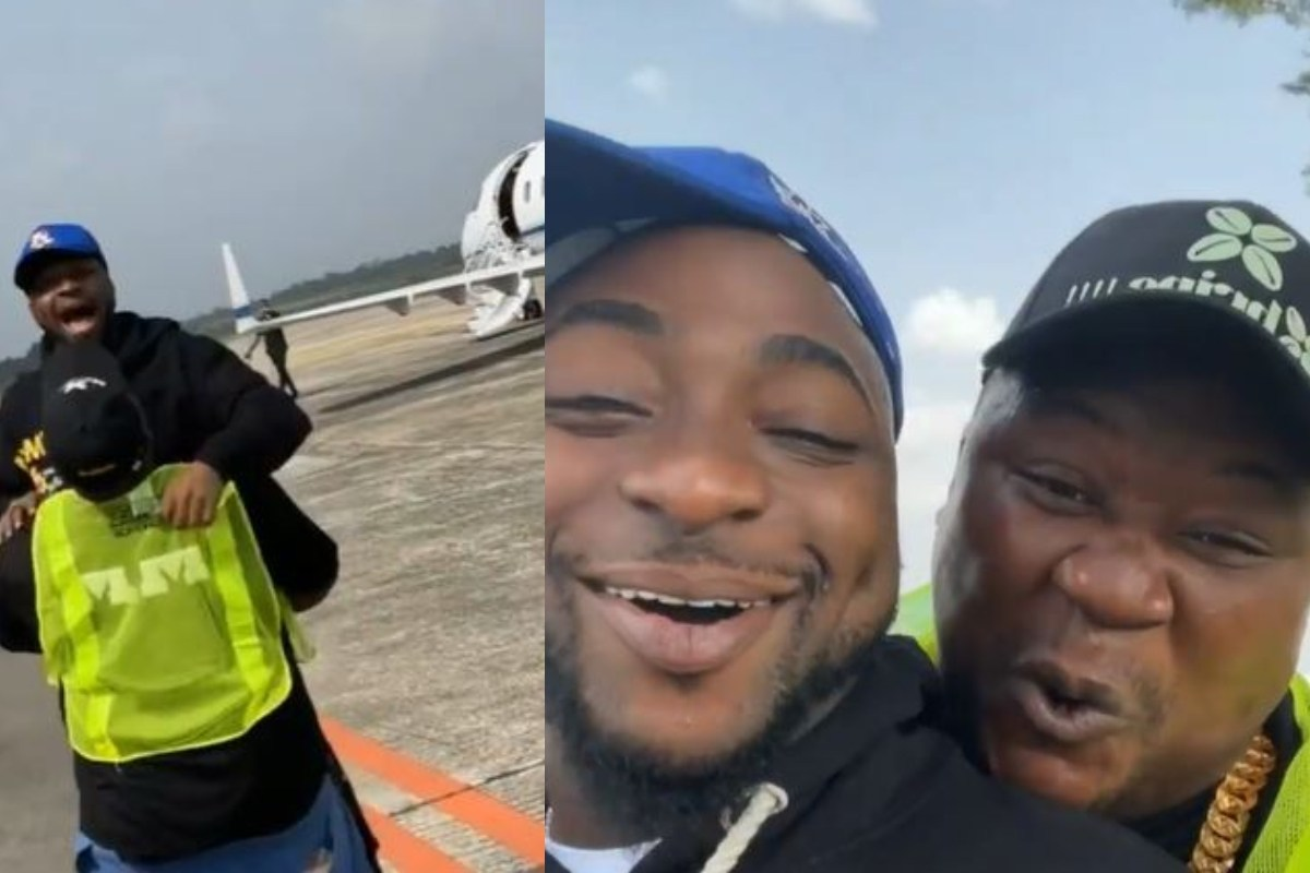 Watch How Cubana ChiefPriest Lost His Home Training When He Met Davido At The Airport (Video)