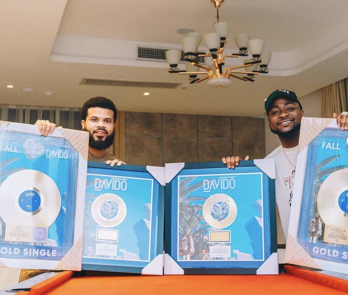 Davido's Plaques For His Gold Certified Records In Canada & The US Arrives In Nigeria