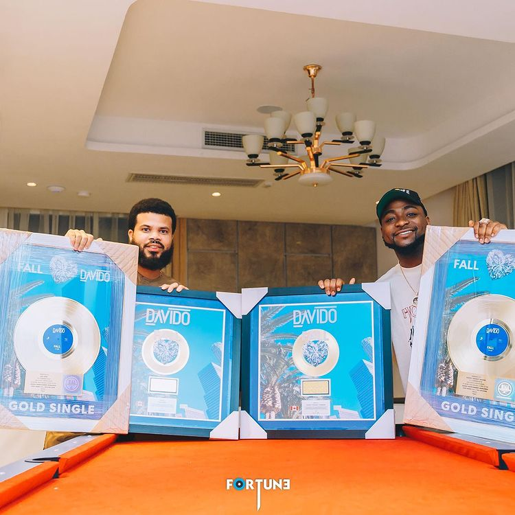 Davido's Plaques For His Gold Certified Records In Canada & The US Arrives In Nigeria (See Photos)