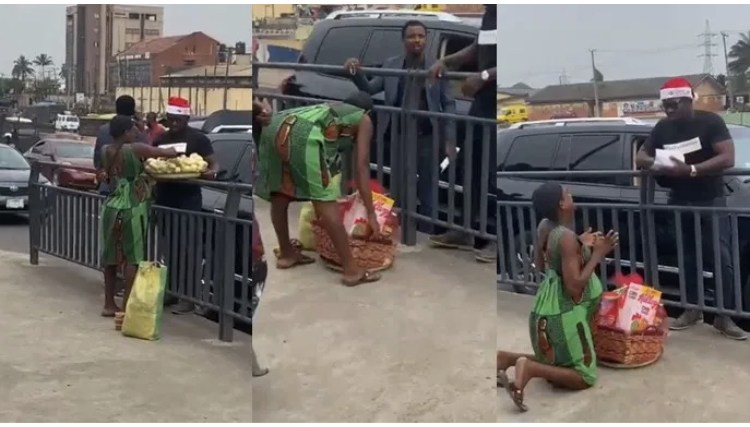 Pregnant Hawker Breaks Down In Tears As Man Buys Her Entire Foodstuffs And Gifts Her Christmas Hamper & Ca$h (VIDEO)