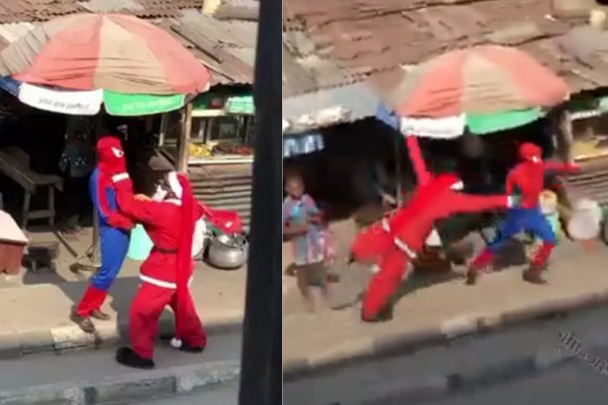 Santa Claus And Spiderman Spotted Having A Fight On Street In Lagos (VIDEO)