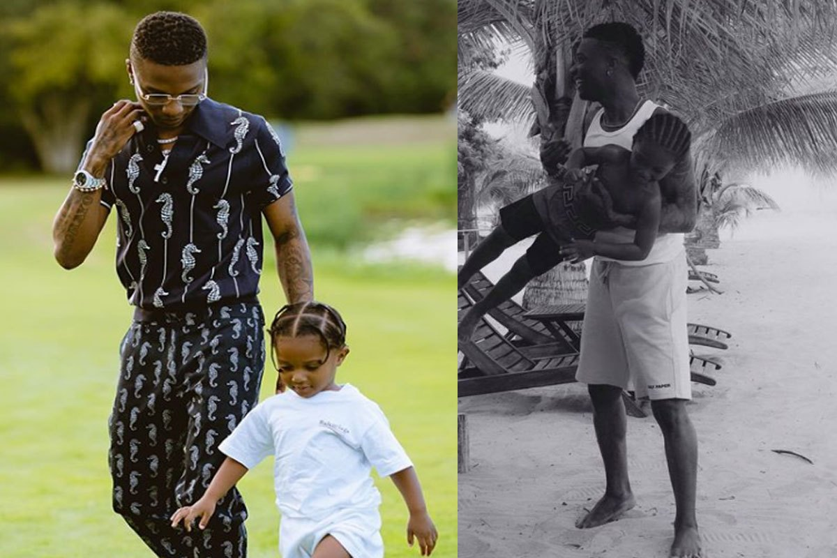 After Gifting His First Son A PS5, Wizkid Spends Priceless Time With His Third Son, Zion, At The Beach (Photos)