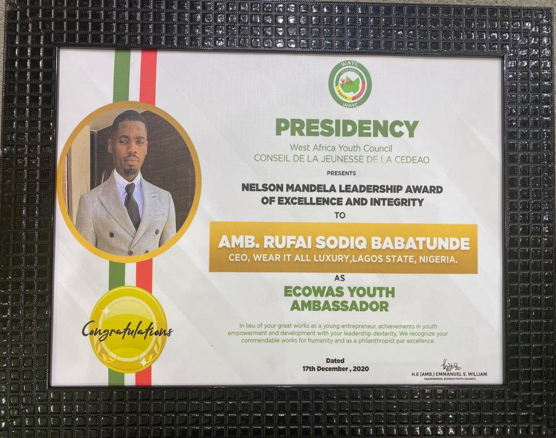 Nigerian Fashion Icon Dr. SodiQ Babatunde Rufai bags Nelson Mandela Leadership Award of Excellence & Integrity from Ecowas Youth Council thumbnail