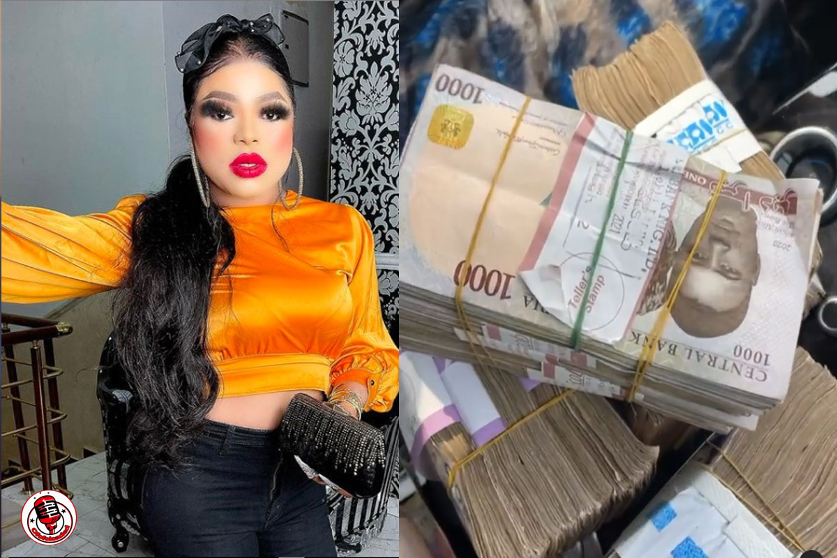Bobrisky Displays The 2m Naira Cash His Boyfriend Gifted Him To Spend For Weekend [VIDEO]