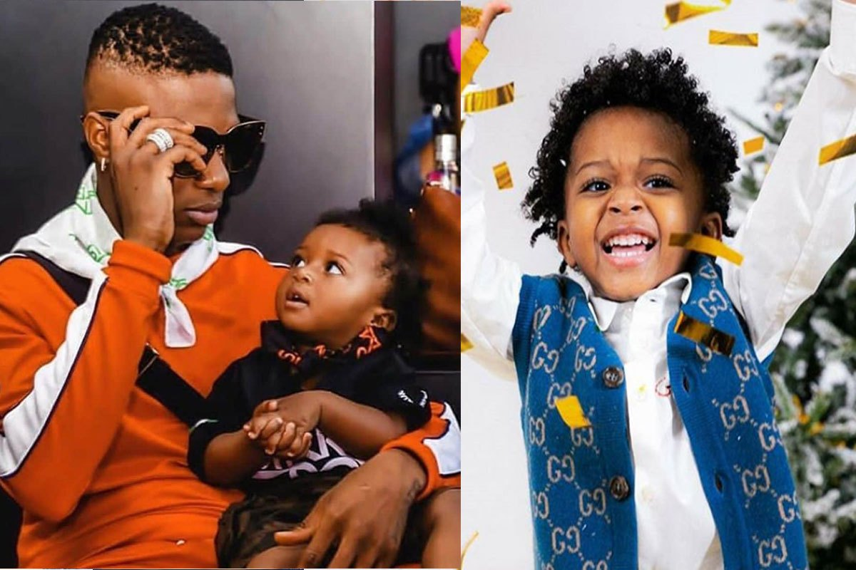 See Zion's Reaction After His Father, Wizkid Refused To Give Him Alcohol To Drink (VIDEO)