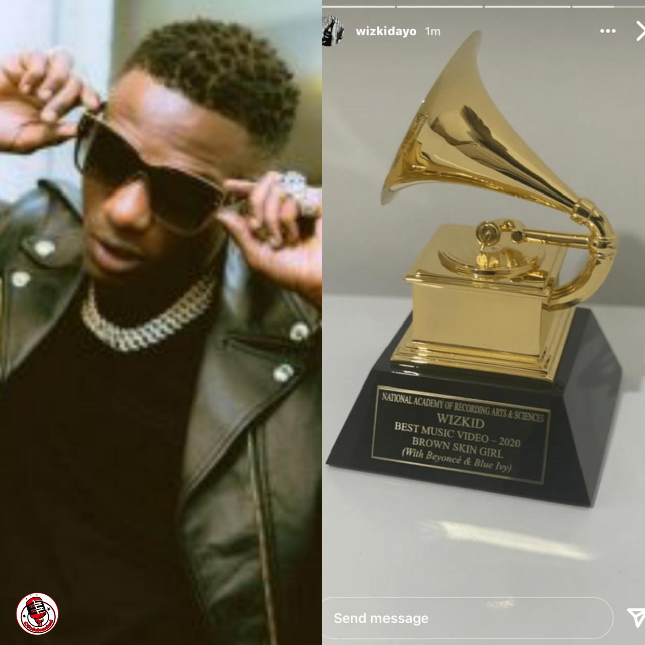 Special Delivery!!! Wizkid Finally Receives Grammy Plaque (Photo)