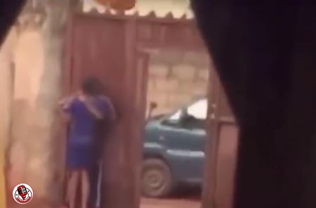 Drama As Nigerian Mother Nabs Daughter Making Out With A Man In Their Compound (Video)